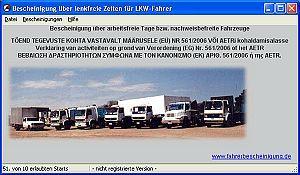 Screenshot vom Programm: Fahrerbescheinigung Lenkfreie Zeiten
